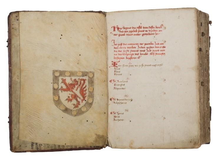wapen van Bergh in de kroniekenbundel met daarin de geschiedenis van Gelre