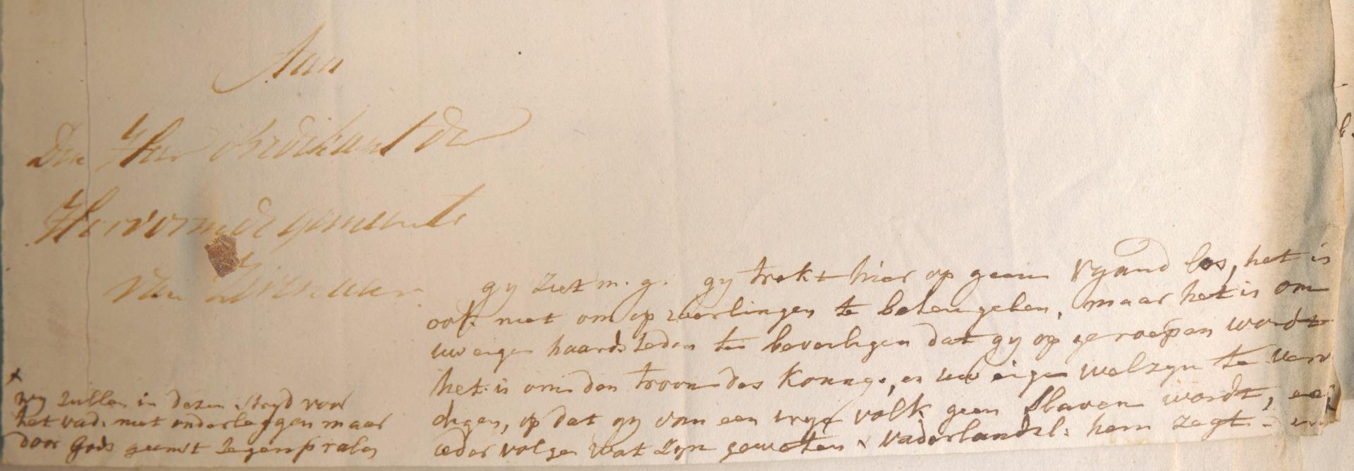 Het antwoord van predikant O.G. Heldring inlcusief de aantekeningen voor zijn preek in de kantlijn © Streekarchivariaat de Liemers en Doesburg