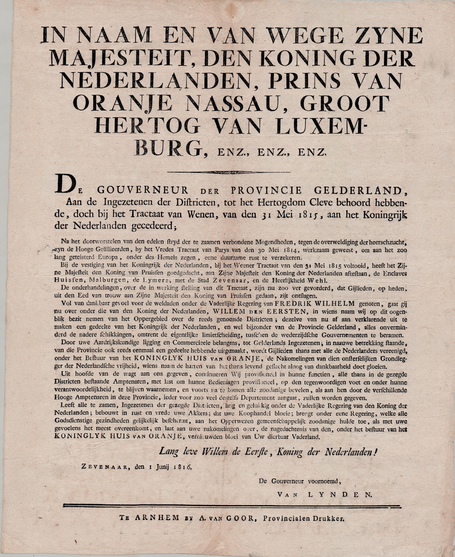 De proclamatie van 1 juni 1816 zoals afgekondigd door gouverneur J.C.E. van Lynden op de markt van Zevenaar © Streekarchivariaat de Liemers en Doesburg