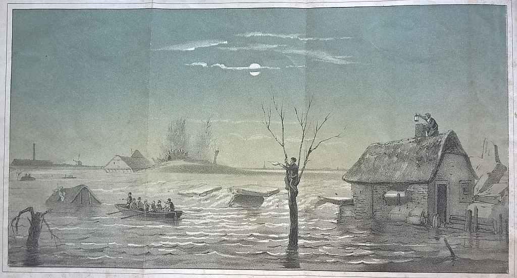 Uitvouwblad Dijkbreuk te Dreumel 1855, Koninklijke Bibliotheek