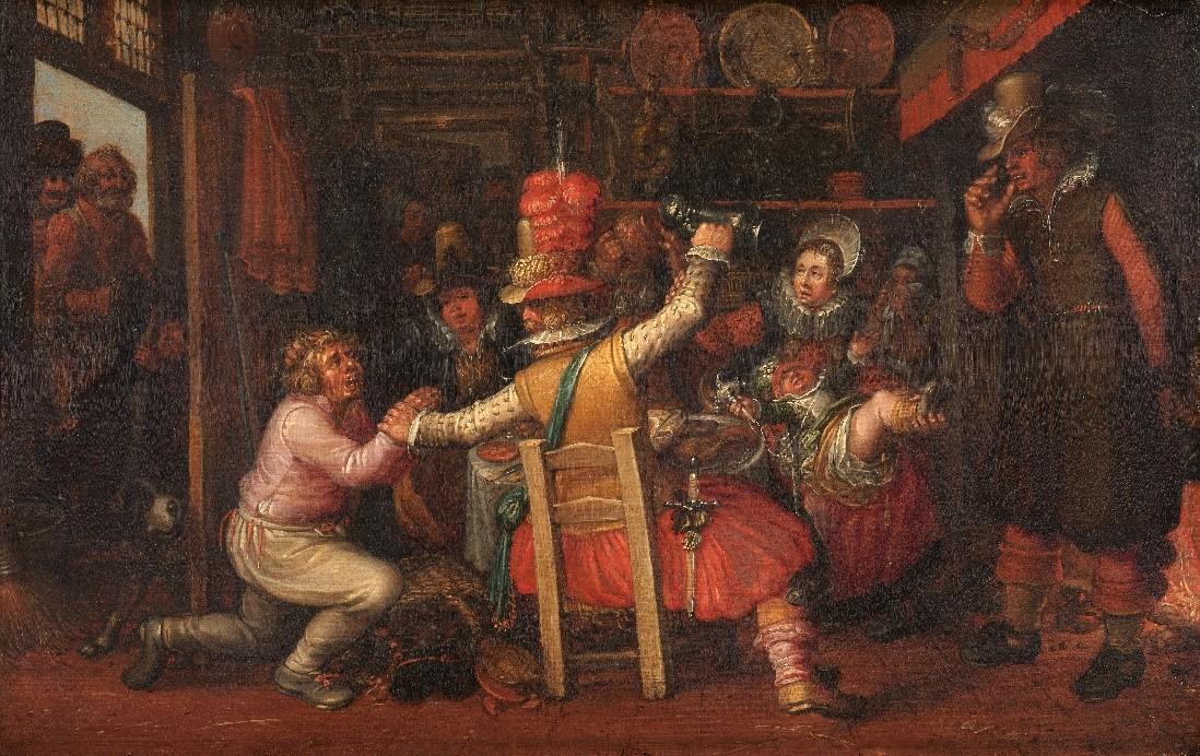 Het boerenverdriet. Rijke stedelingen laven zich aan het eten en drinken van de boeren, die vanuit de deuropening angstig toe kijken. Schilderij uit het atelier van David Vinckboons gemaakt na circa 1619, Rijksmuseum.