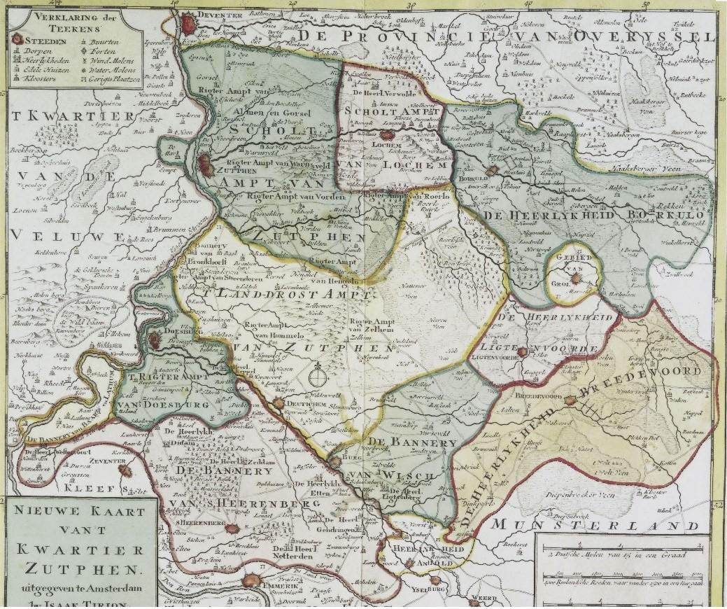 Kaart van het Kwartier van Zutphen uit 1757, Universiteitsbibliotheek Bern, PD.